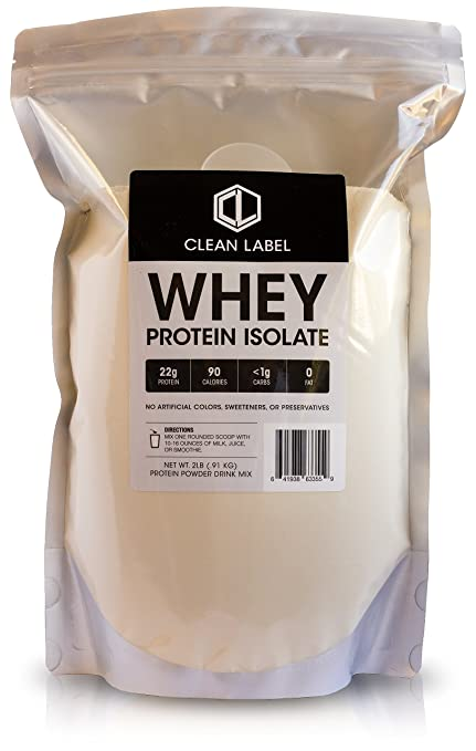 Amazon.com: Unflavored Whey Protein Isolate Powder by Clean Label (2 Pound, 37 Servings): Health & Personal Care