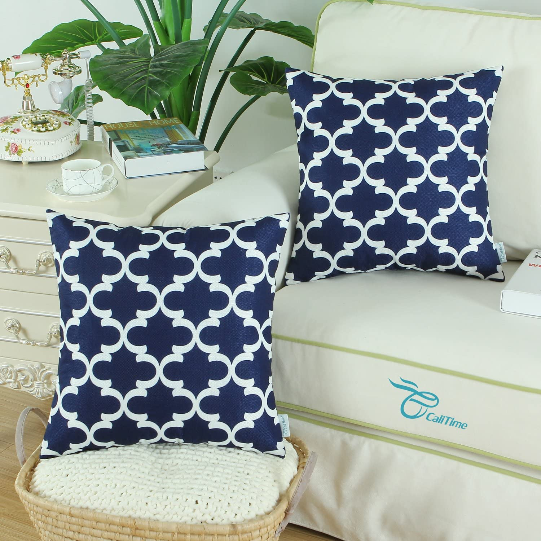 CaliTime Soft Canvas Decorative Throw Pillows Set