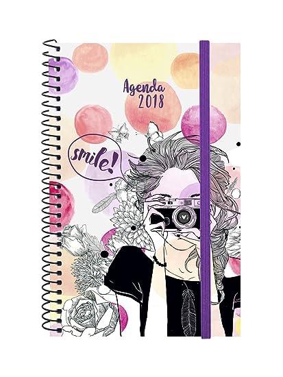 Finocam Espiral Design - Agenda 2018, semana vista apaisada, diseño Smile, español, 117 x 181 mm, 80 g/m²