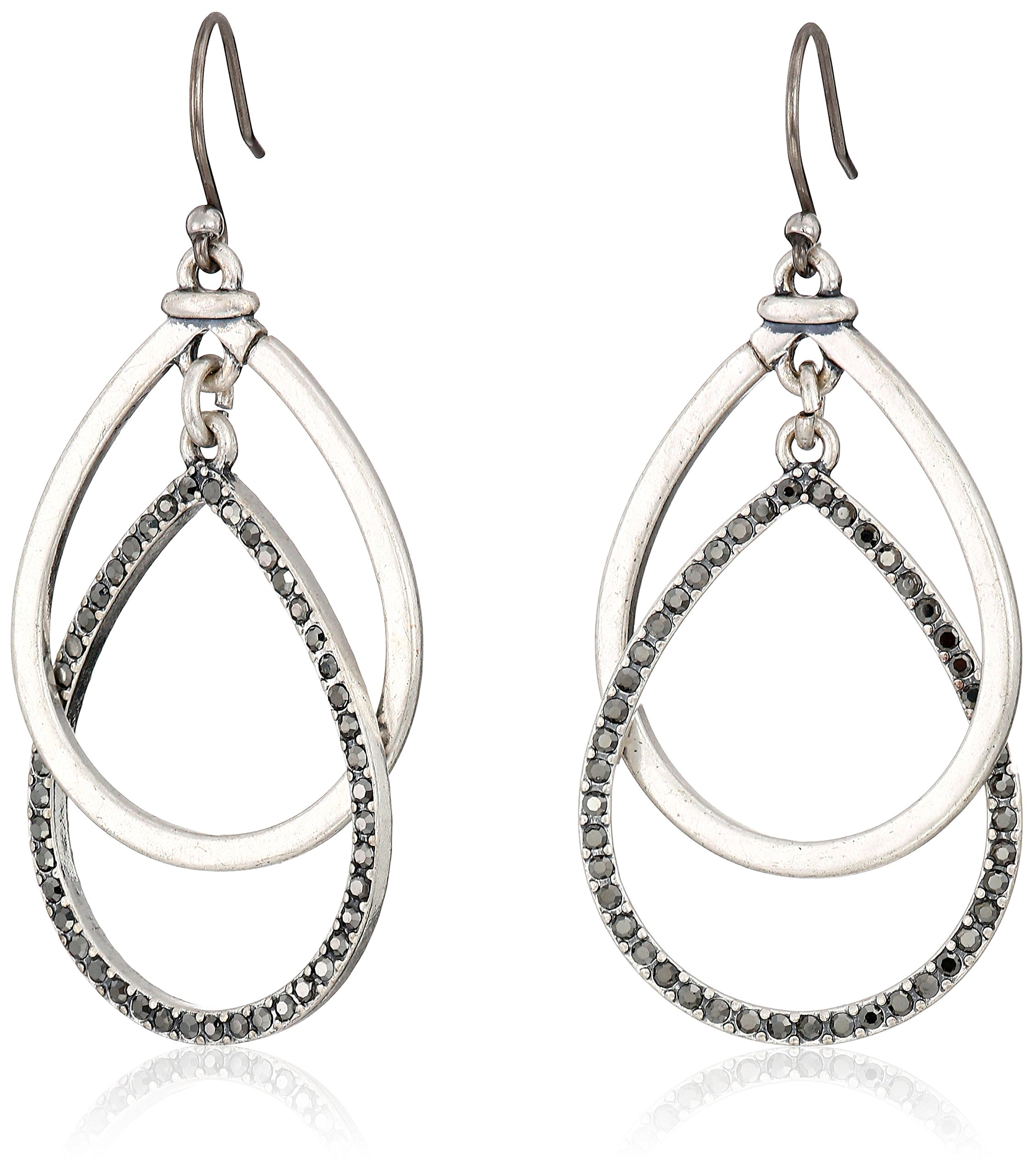 Lucky Brand Pave Double Hoop Earrings, Silver, One Size