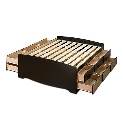 Prepac Black Tall Full Captainu0027s Platform Storage Bed with 12 Drawers  sc 1 st  Amazon.com & Amazon.com: Prepac Black Tall Full Captainu0027s Platform Storage Bed ...