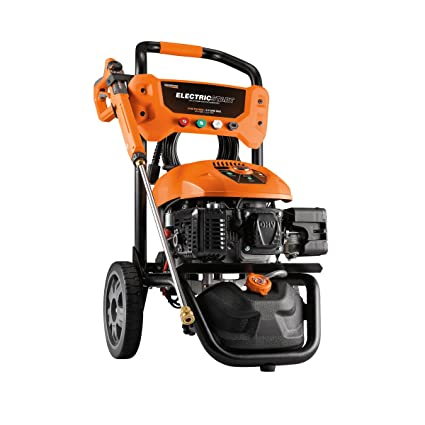 Generac Gas Pressure Washer 3100 PSI 2 5 GPM Lithium-Ion Electric Start  with PowerDial Spray Gun, 25' Hose and 4 Nozzles