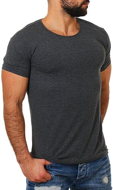 e920456eca3b Young Rich Herren Rundhals Ausschnitt T-Shirt Einfarbig Slimfit mit  Stretchanteilen Uni Basic Round Neck Tee