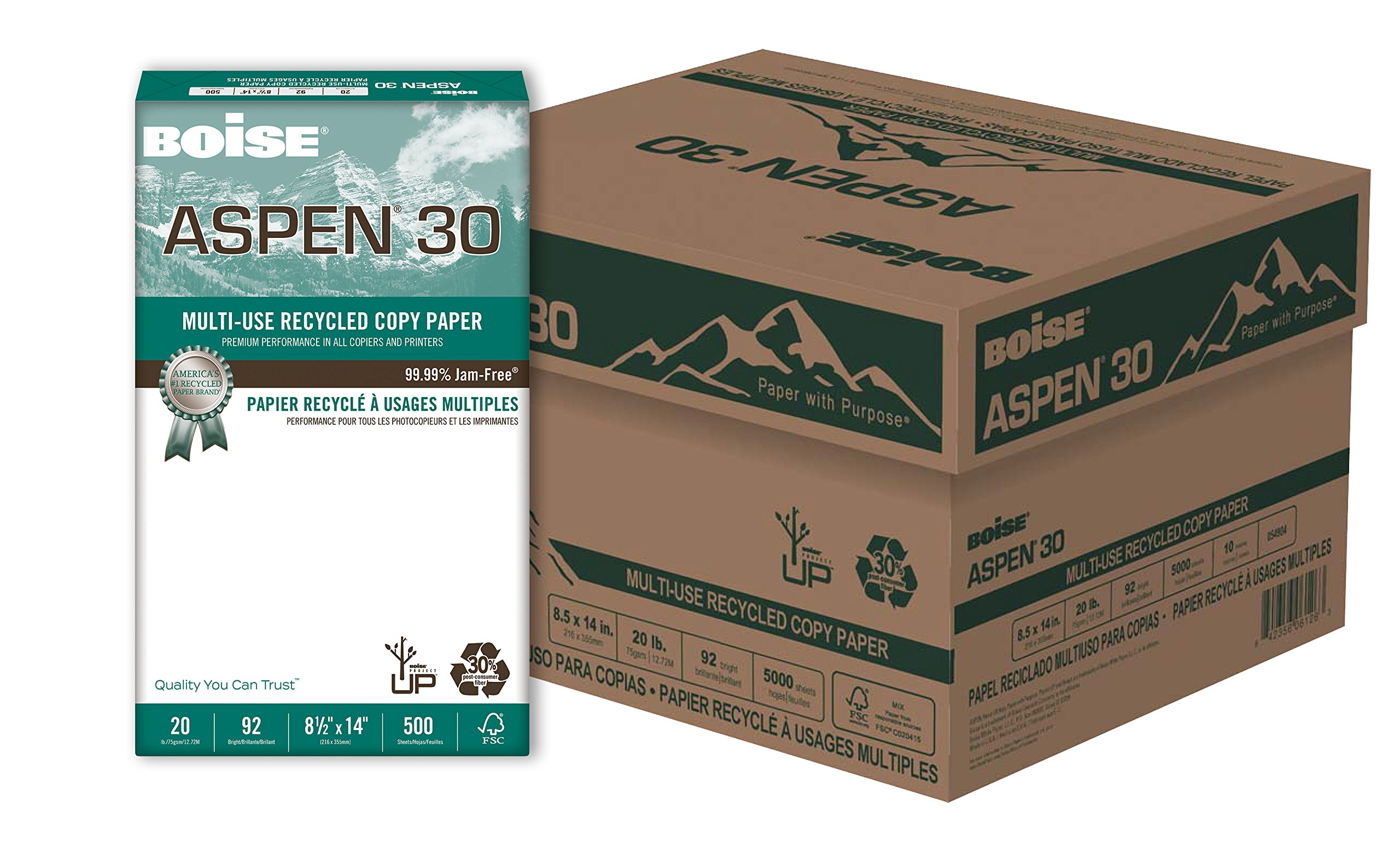 BOISE ASPEN 30% Recycled Multi-Use Copy Paper, 8.5'' x 14'', Legal, 92 Bright, 20 lb, 10 Ream Carton (5,000 Sheets)
