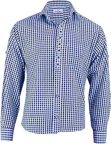 German Wear Camisa de Traje Regional a Cuadros con Bordado de Flor de Las Nieves de algodón