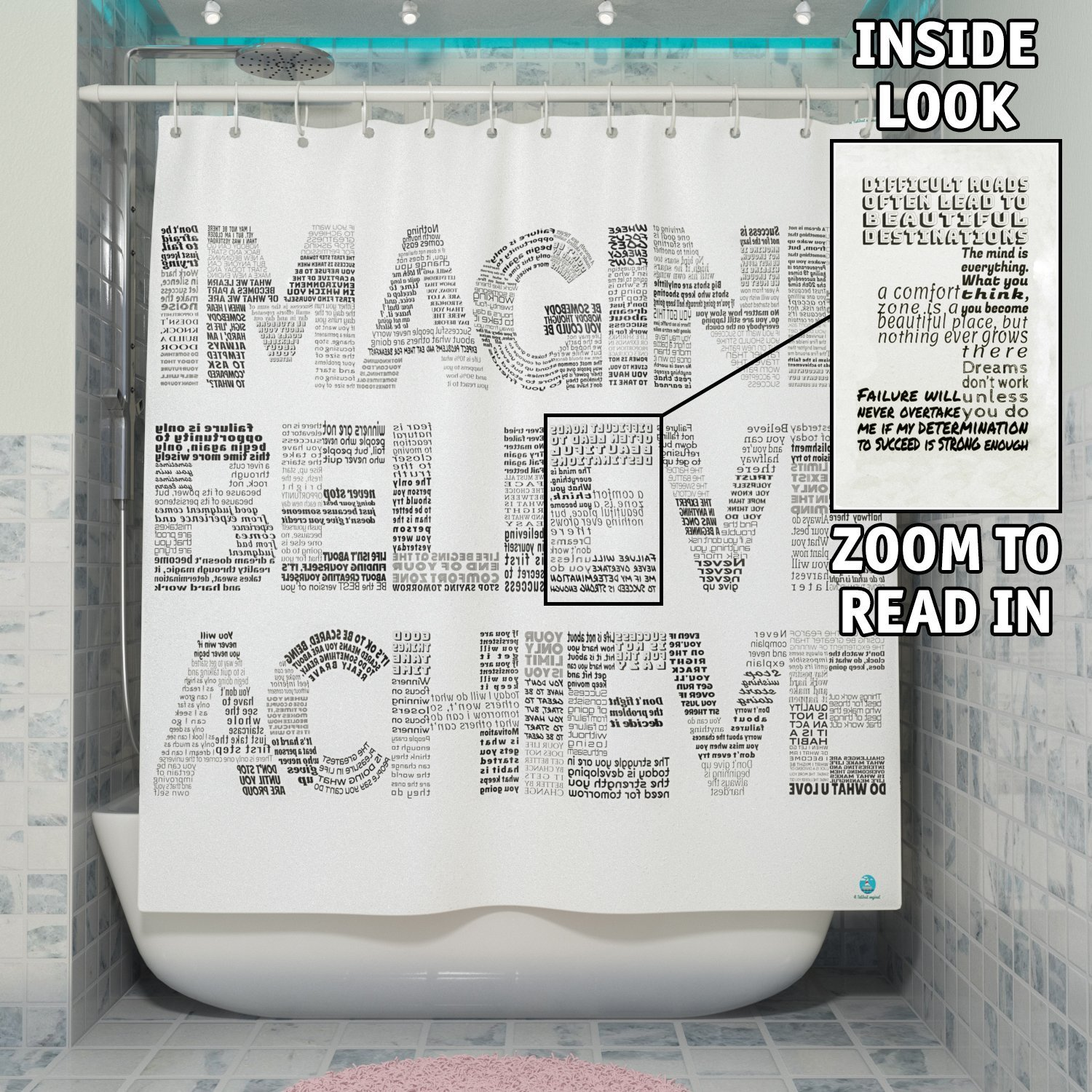 Motivational 2in1 Shower Curtain by TubSail - Read In – 145 Quotes, Motivational tool & Shower Curtain, Positive Vibes, Gym Shower Curtain, Black and White, Unique Design, Good Vibes