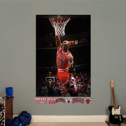 first rate ab668 77c2e Amazon.com   Fathead NBA Chicago Bulls Michael Jordan  Mural - Giant  Officially Licensed NBA Removable Wall Graphic   Sports   Outdoors