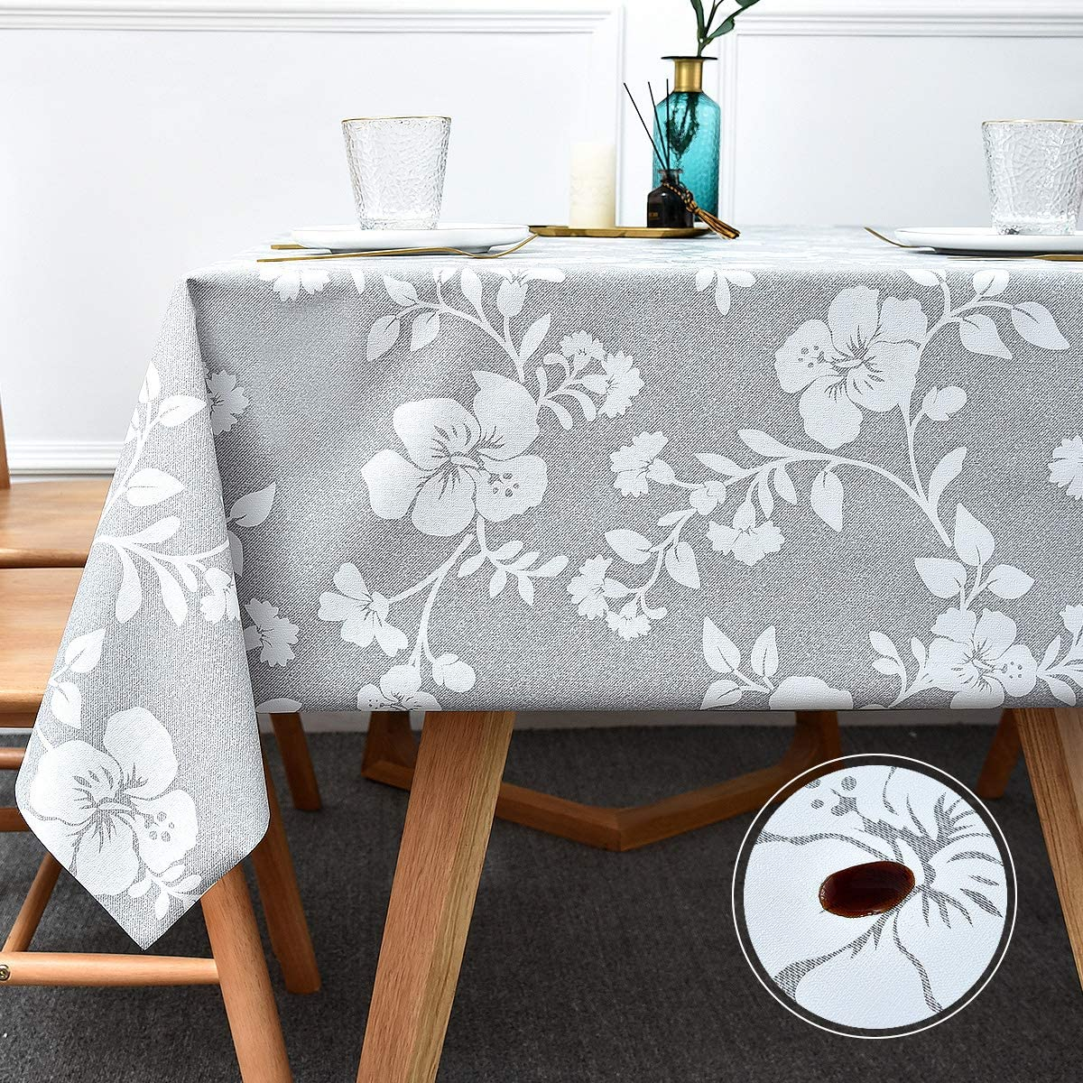 Gold Leaves Floral Metallic Wipe Clean PVC Tablecloth Vinyl Dining Oilcloth