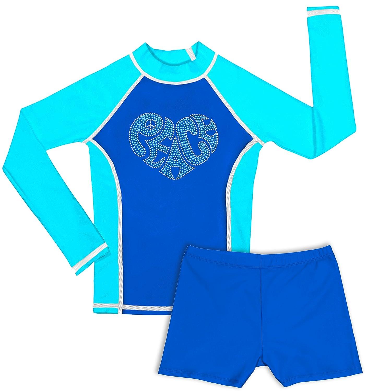 Girls Long Sleeve Rash Guard and Shorts Set grUVywear UV Sun Protective UPF 50