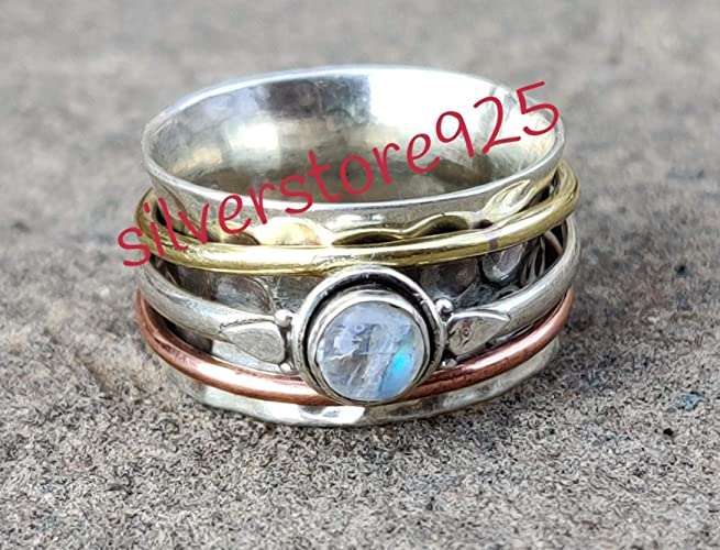 Rainbow Moonstone Spinner Ring*Sterling Silver Ring*Meditation Ring*Moonstone Ring*Band Ring*Boho Ring*Fidget Ring*Christmas Gift Ring