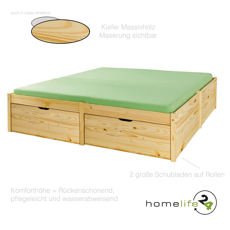 Holzbett 140x200cm Bett Doppelbett Massivholzbett Bettgestell ...