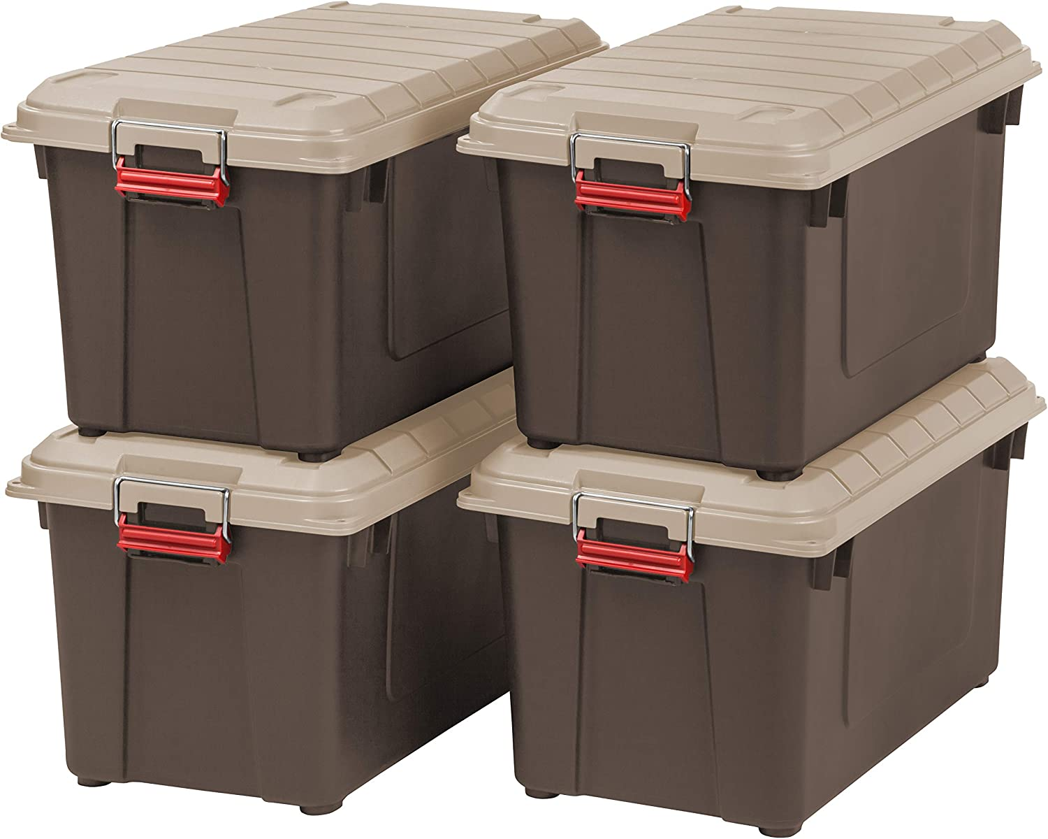 Iris 82 Quart Weathertight Store It All Tote 4 Pack Brown Home Kitchen