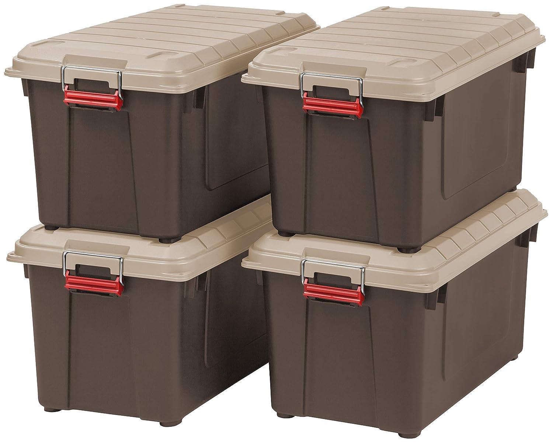 IRIS 82 Quart Weathertight Store It All Tote 4 Pack Brown