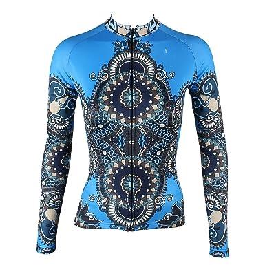 4a80281f7 ILPALADINO Women s Cycling Jersey Long Sleeve Biking Shirts Reflective  Quick Dry (Blue