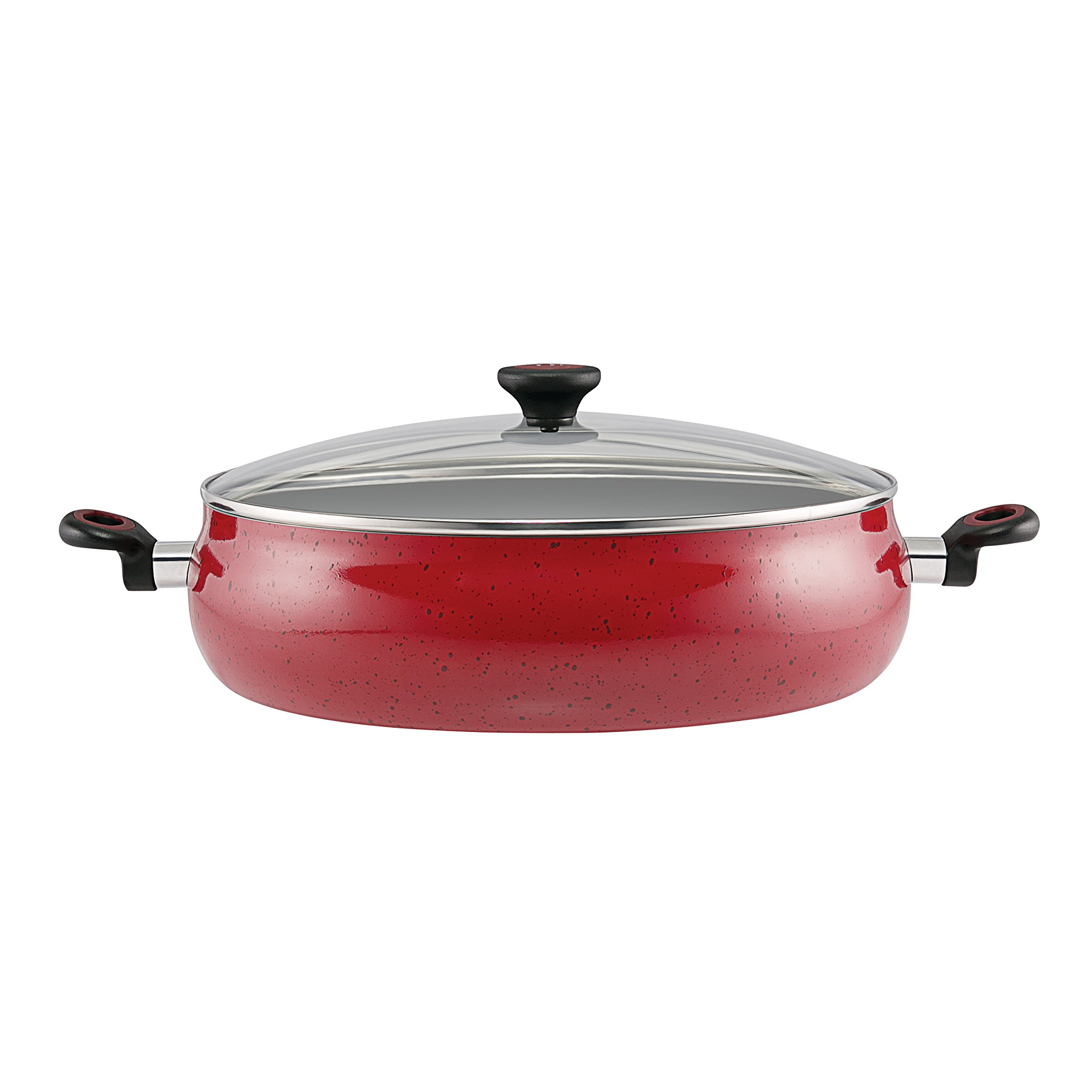 Paula Deen Riverbend Aluminum Nonstick Covered Family Gathering Pan/Large Jumbo Cooker, 10-Quart, 13.75-Inch, Red Speckle