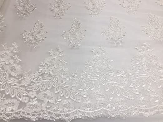 White Flower Lace Corded And Embroider With Sequins On A Mesh Lace.wedding.