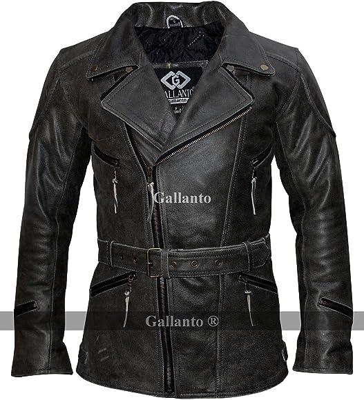 f3c02033629 Gallanto 3/4 Distressed Eddie 3/4 Mens Motorcycle Biker Long Vintage  Leather Jacket