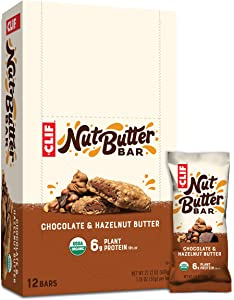 Clif Nut Butter Bar - Organic Snack Bars - Chocolate Hazelnut Butter - (1.76 Ounce Protein Snack Bars, 12 Count) (Packaging May Vary)