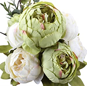 Duovlo Fake Flowers Vintage Artificial Peony Silk Flowers Wedding Home Decoration,Pack of 1 (New Green)
