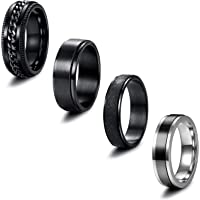 EIELO 4 Pieces Band Rings for Men Women Stainless Steel Cool Chain Inlaid Fidget Spinner Ring Black Silver Anxiety…