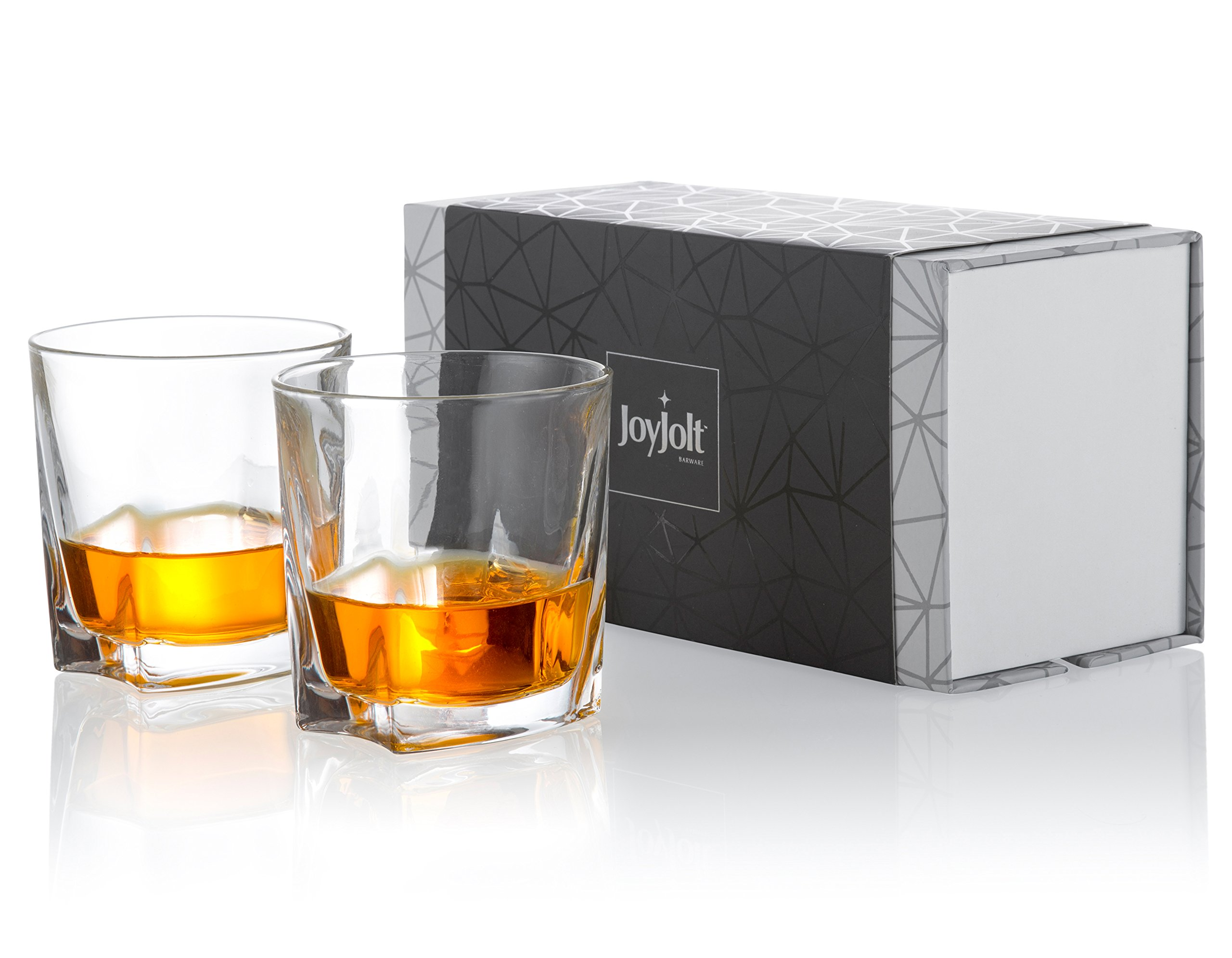 JoyJolt Luna Crystal Whiskey Glasses, Old Fashioned Whiskey Glass 10.5 Ounce, Ultra Clear Crystal Scotch Glass for Bourbon and Liquor Set Of 2 non-leaded crystal Glassware