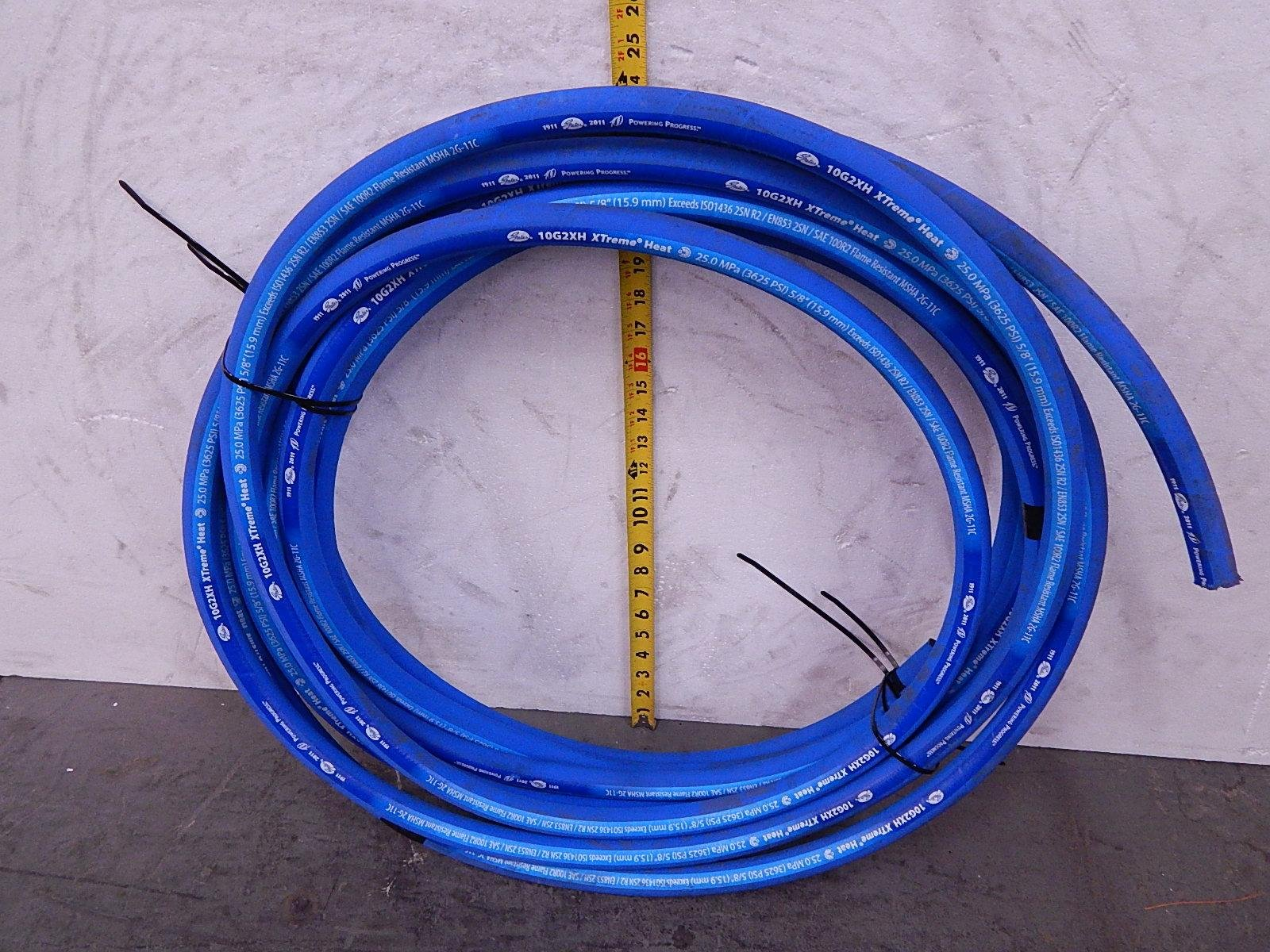 Gates 10G2XH, ISO1436 2SN R2, EN853 2SN, SAE 100R2, 2G-1C 5/8 In 3625 Psi XTreme Heat Flame Resistant Hydraulic Hose 45 Ft T104235