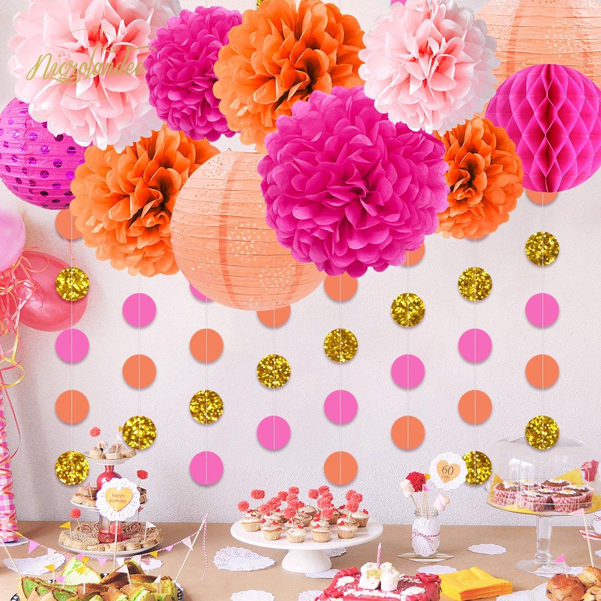 NICROLANDEE Pink and Orange Birthday Party Decoration Pack Paper Lanterns Tissue Flower Poms Gold Glitter Garland for Flamingo Bachelorette Birthday Baby Shower Thanksgiving Fiesta Festival Decor by NICROLANDEE (Image #2)