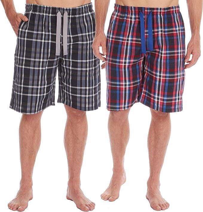 2 Pack INSIGNIA Mens Poly Cotton Pyjamas Lounge Short Bottoms Check