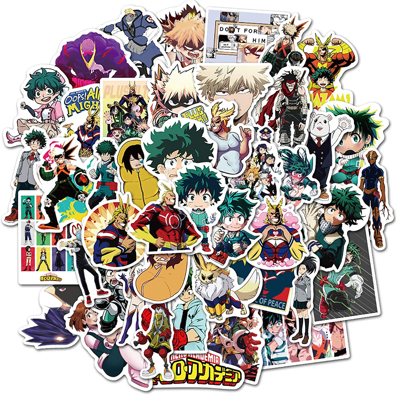 My Hero Academia Anime Stickers Pack of 50 for Laptop Hydro Flasks,Laptops,Computers, car,Water Bottles,scrapbooks,Waterproof Durable 100% Vinyl(My Hero Academia)