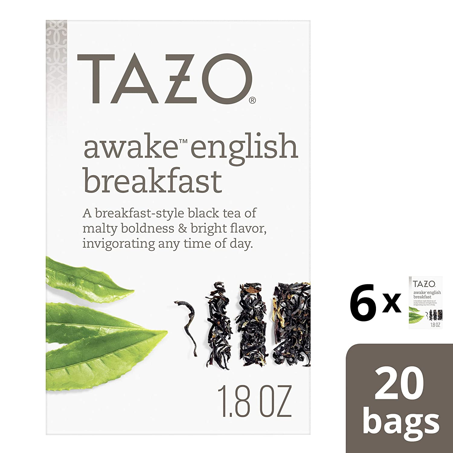 Tazo Awake English Breakfast Tea Bags for a bold and delightful traditional breakfast-style black tea Black Tea high caffeine level 20 count, Pack of 6