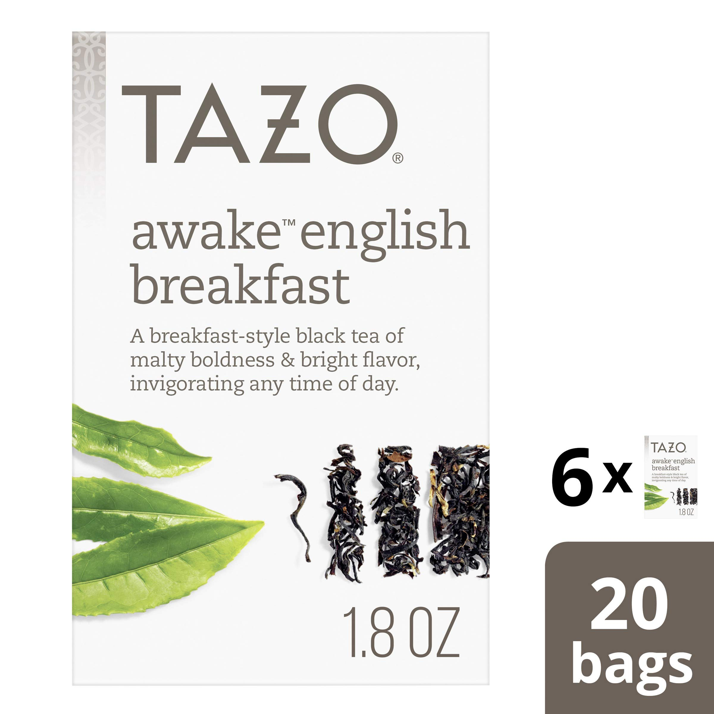 Tazo Awake English Breakfast Tea Bags for a bold and delightful traditional breakfast-style black tea Black Tea high caffeine level 20 count, Pack of 6 by Tazo