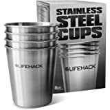 Stainless Steel Cups (4 pack) by MrLifeHack - Healthiest & Safest Drinking Glasses - Great for Kids, Toddlers, Sippy & Outdoors -Premium Unbreakable Pint Tumblers - Available in 3 Sizes (8 oz)