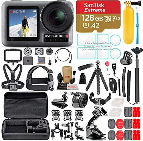 DJI OSMO Action Camera Bundle with Micro SD Card, Tempered Glass Screen Protectors, Carrying Case, and Must Have Accessories 55 Items