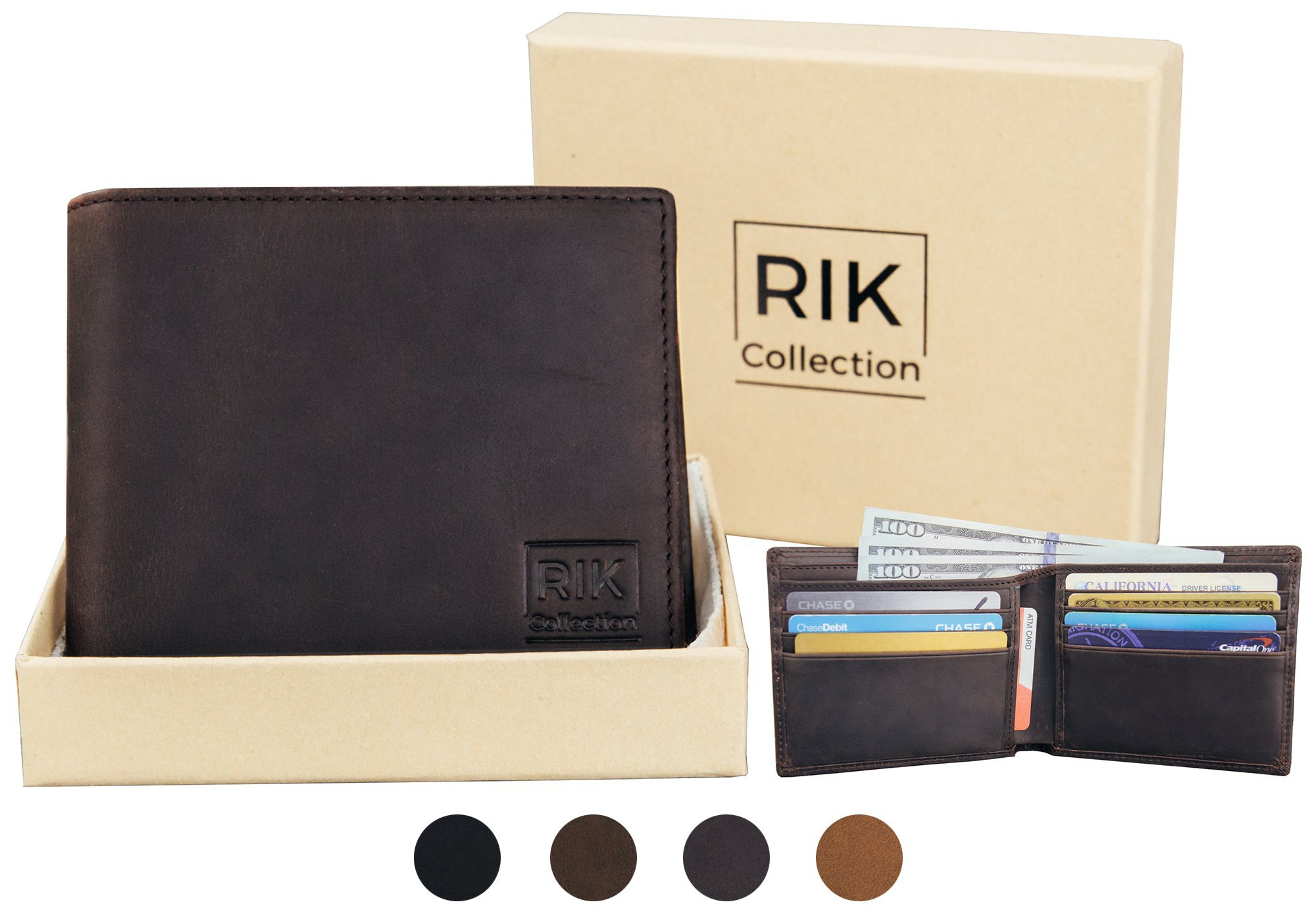 RIK COLLECTION Slim RFID Blocking Italian Genuine Leather Bifold Wallets For Men (Dark Brown)