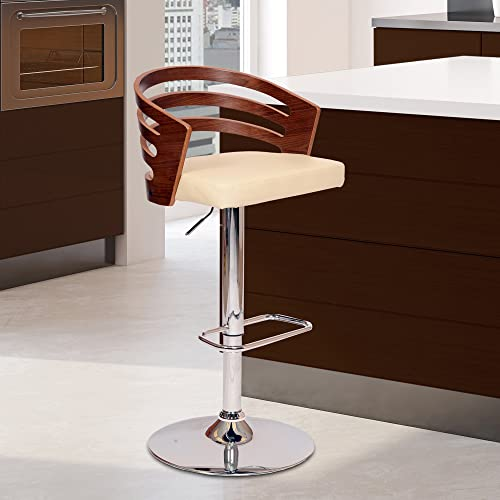 Armen Living Adele Modern Adjustable Swivel Barstool in Faux Leather with Footrest, 36-44 Height, Cream
