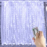 Window Curtain String Lights,300 LED Icicle Fairy Twinkle Starry Lights with Remote and Timer-UL Listed for Indoor and Outdoor, Wedding, Home Bedroom Wall Decoration, Party (Pure White)