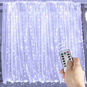 20 Ft. LED Curtain Icicle Lights with Remote & Timer, 600-LED Fairy Twinkle String Lights with 8 Light Modes Fits for Bedroom Window Wedding Party Backdrop Outdoor Indoor Wall Decoration, Pure White