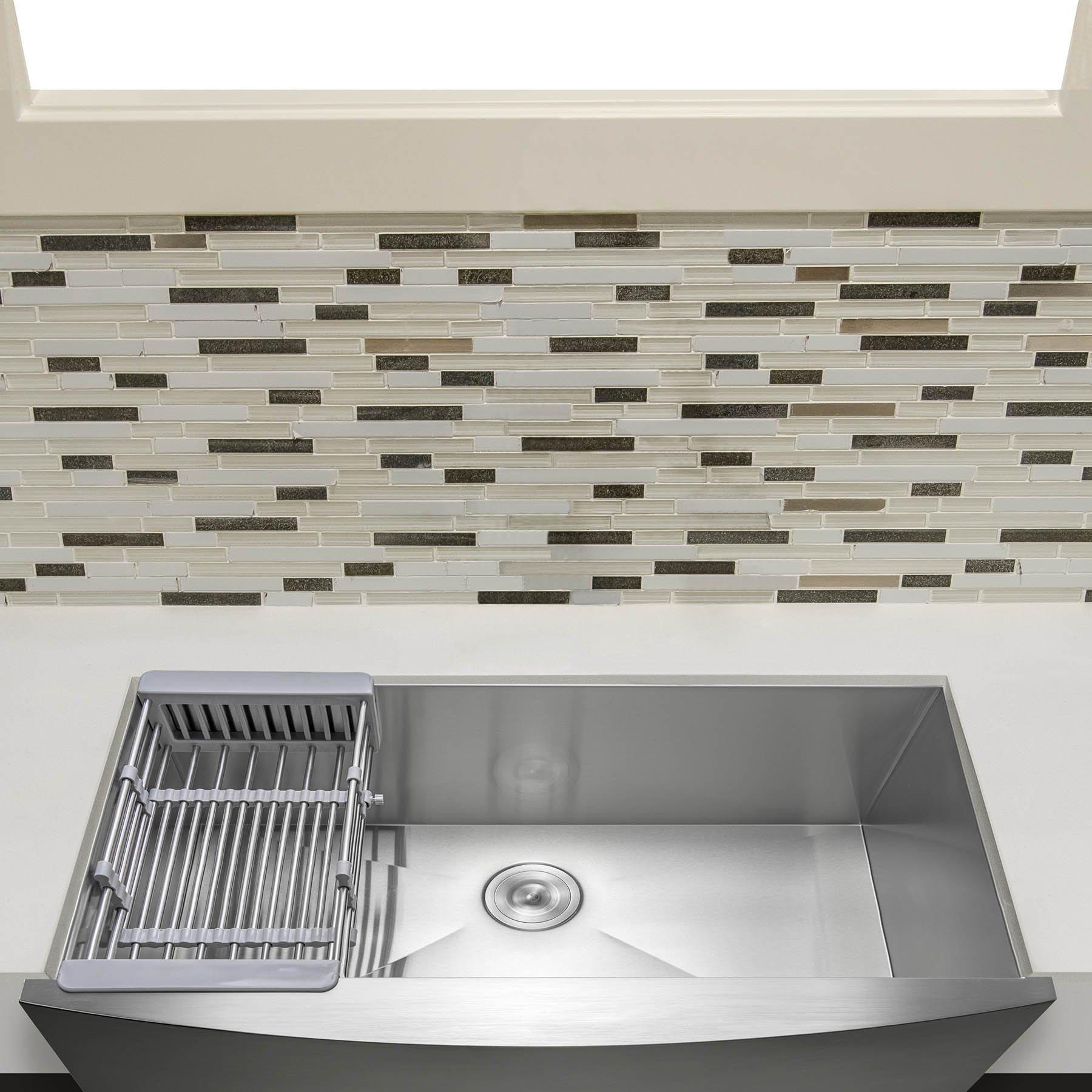 Firebird 30'' x 20'' x 9'' Apron Farmhouse Handmade Stainless Steel Single Bowl Kitchen Sink w/ Drain Strainer Kit Adjustable Tray