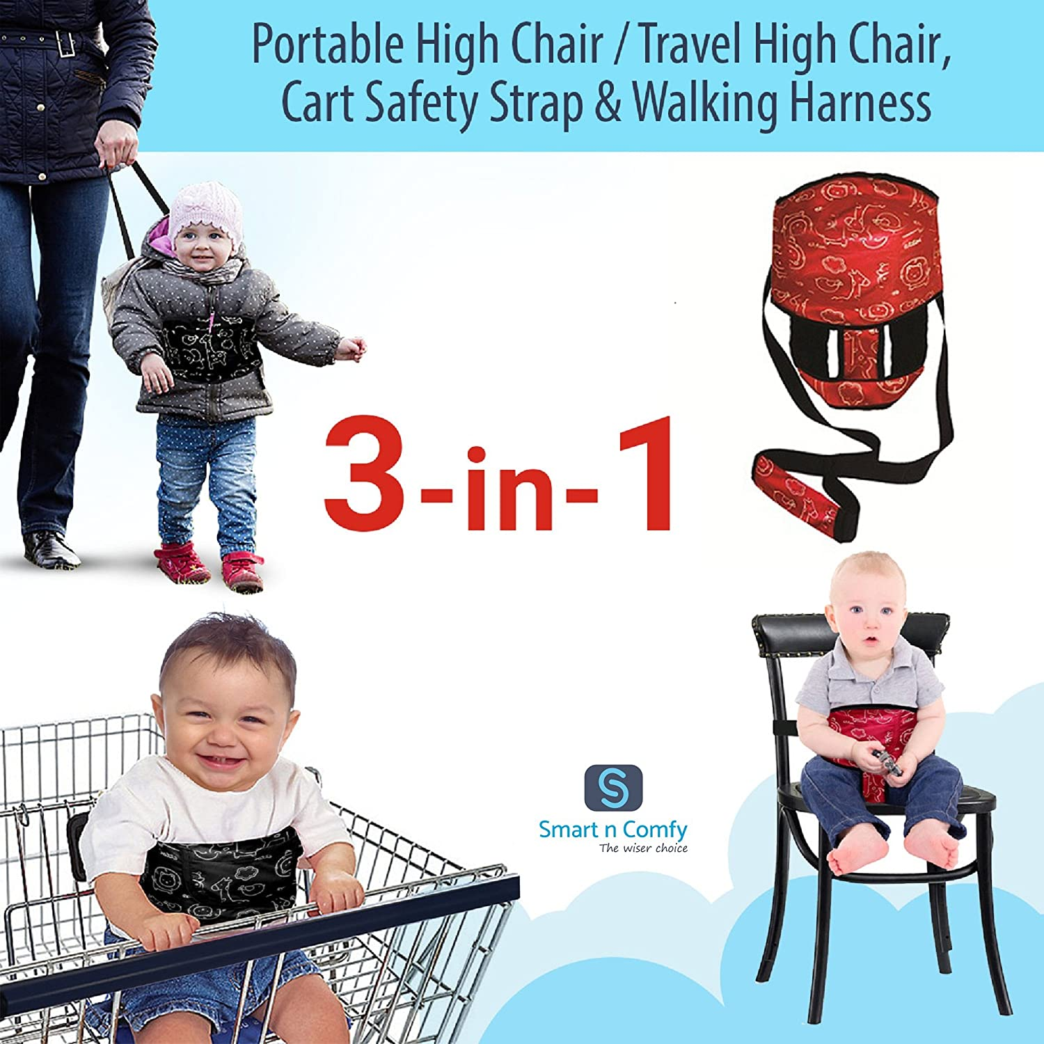 Smart N Comfy 3-in-1 Travel High Chair + Portable High Chair + Toddler Safety Harness + Shopping Cart Safety Strap (Black) AMZ Team Business