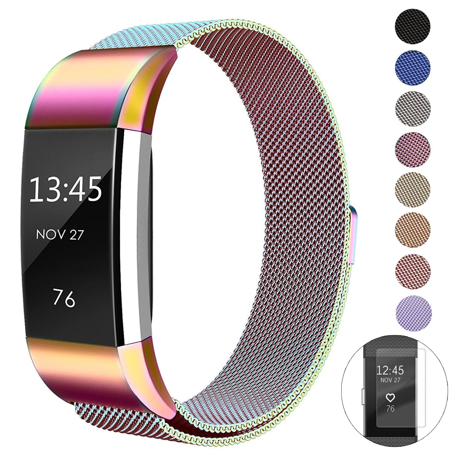 Super Vaule Metal Bands Compatible Fitbit Charge 2 Bands, Milanese Stainless Steel Mesh Magnetic Replacement Strap Small & Large w/Screen Protector for Women Men (Rainbow, Small: 5.5\