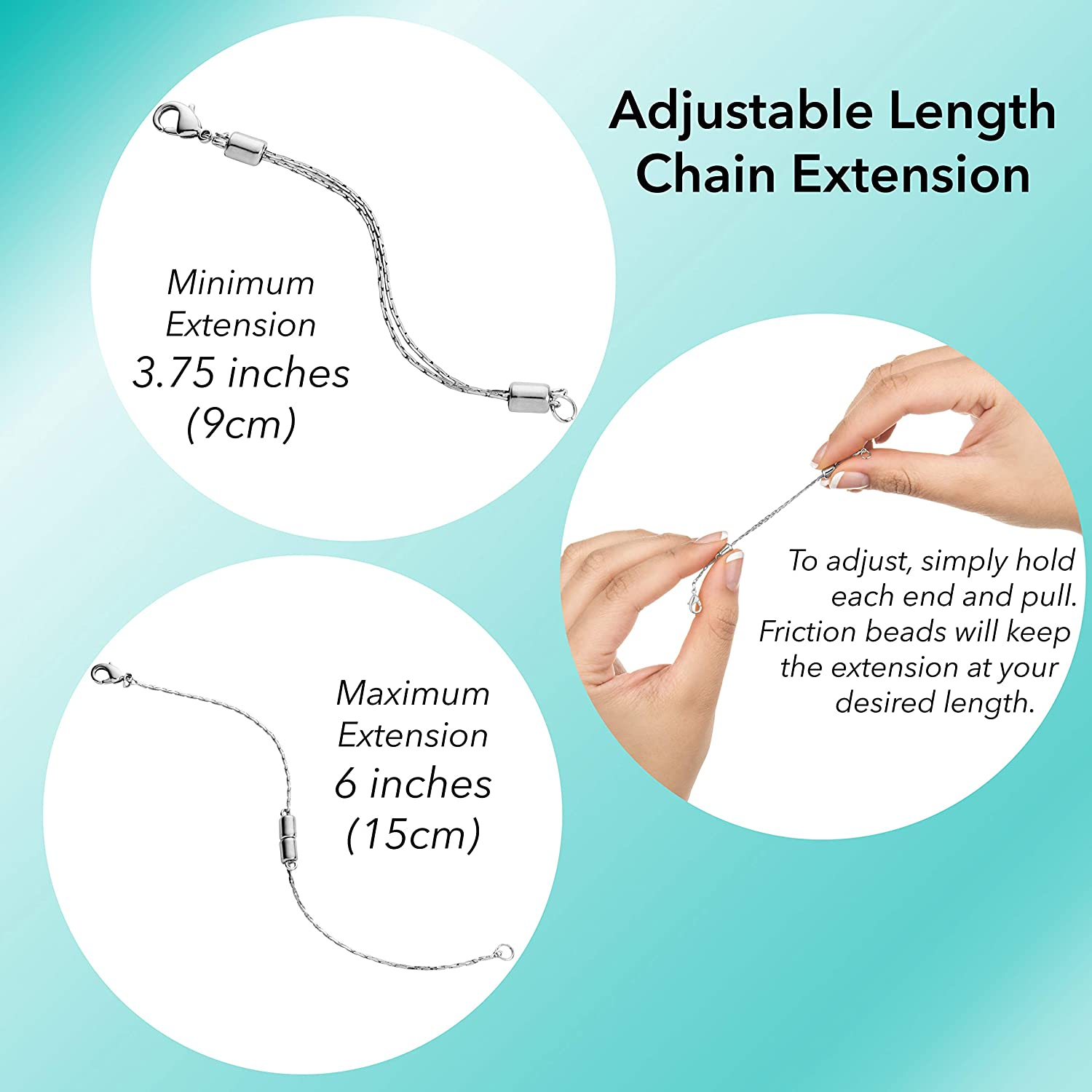 Stainless Steel Adjustable Necklace Chain Extender with Lobster Clasp 2 Extenders