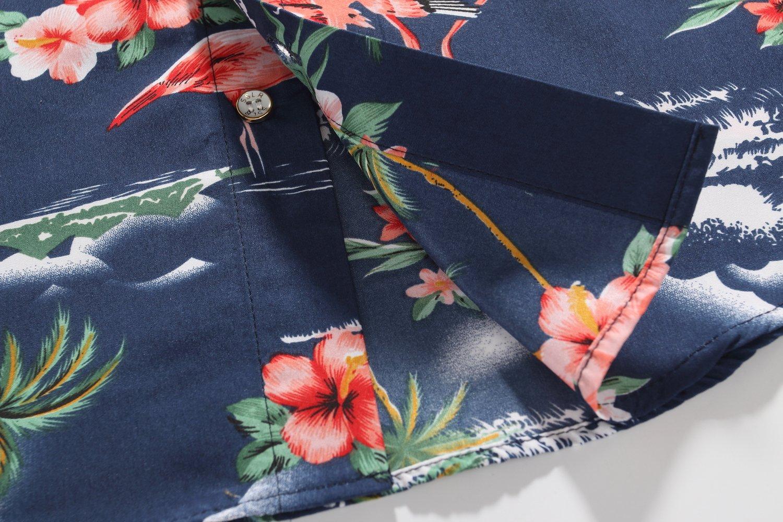 SSLR Big Boy's Flamingos Button Down Short Sleeve Aloha Hawaiian Shirt (Large(14-16), Dark Blue) by SSLR (Image #8)