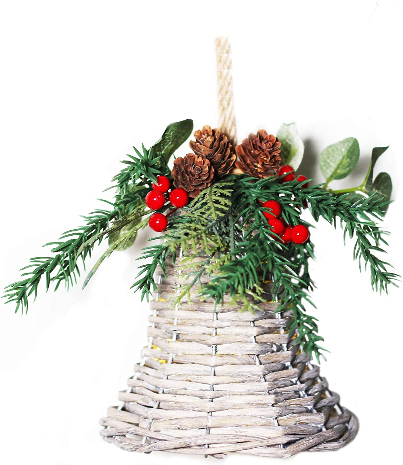 ALLEY CHARM Wicker Hanging Bell Ornament Hand Made for Farmhouse Christmas Décor, 6 in