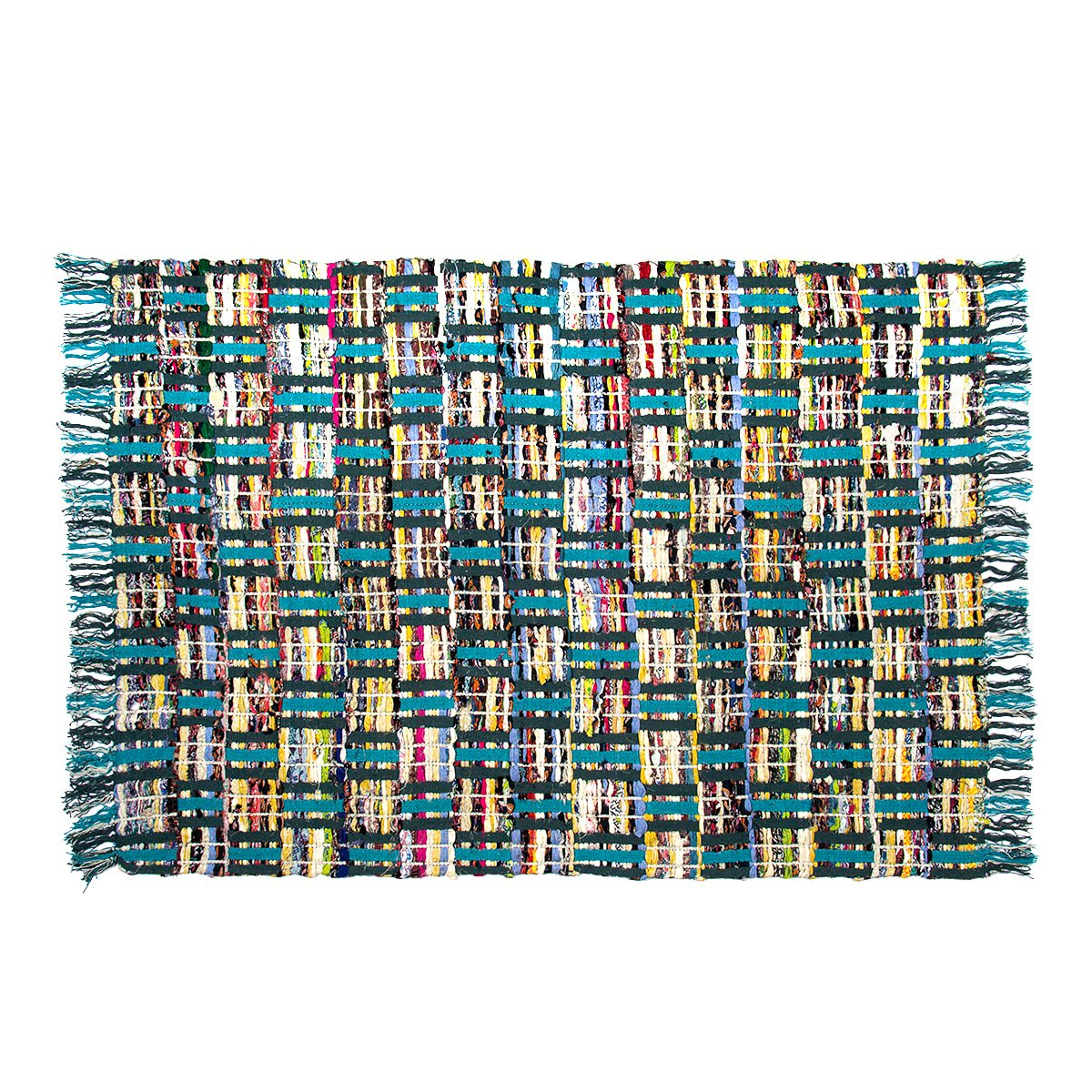 Sunrise Chindi 4×6 Area Rag Rugs Recycled Multi-Color Woven Fabric Casual for Home Decor Dorm Living Room Entryway Hardwood Bedroom