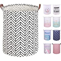 """PFONB 19.7"""" X-Large Collapsible Laundry Basket,Waterproof Sturdy Lightweight Canvas Round Clothes Hamper Home Organizer…"""