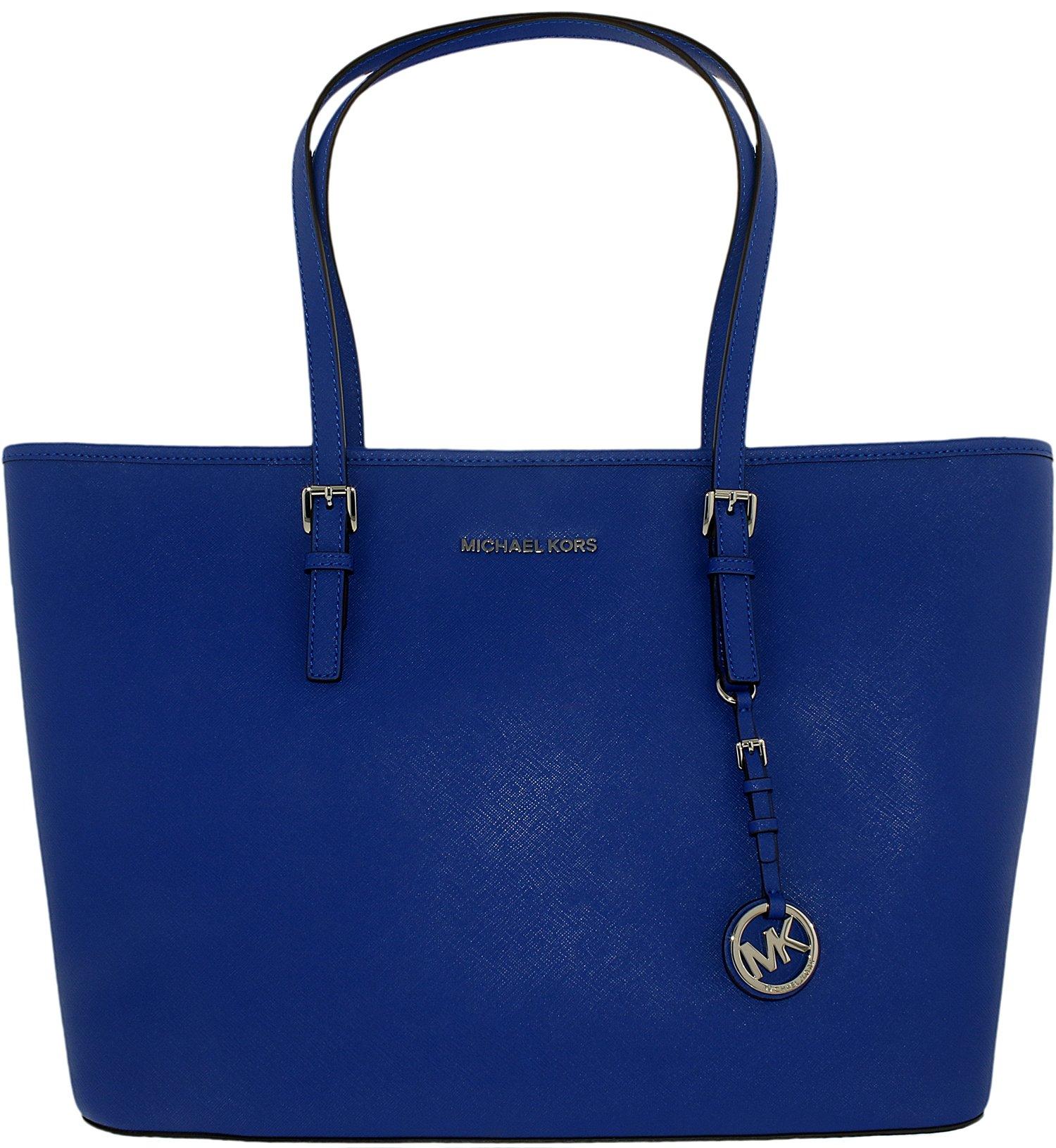 Michael Kors Women's Medium Jet Set Travel Saffiano Bag Leather Shoulder Tote - Electric Blue by MICHAEL Michael Kors