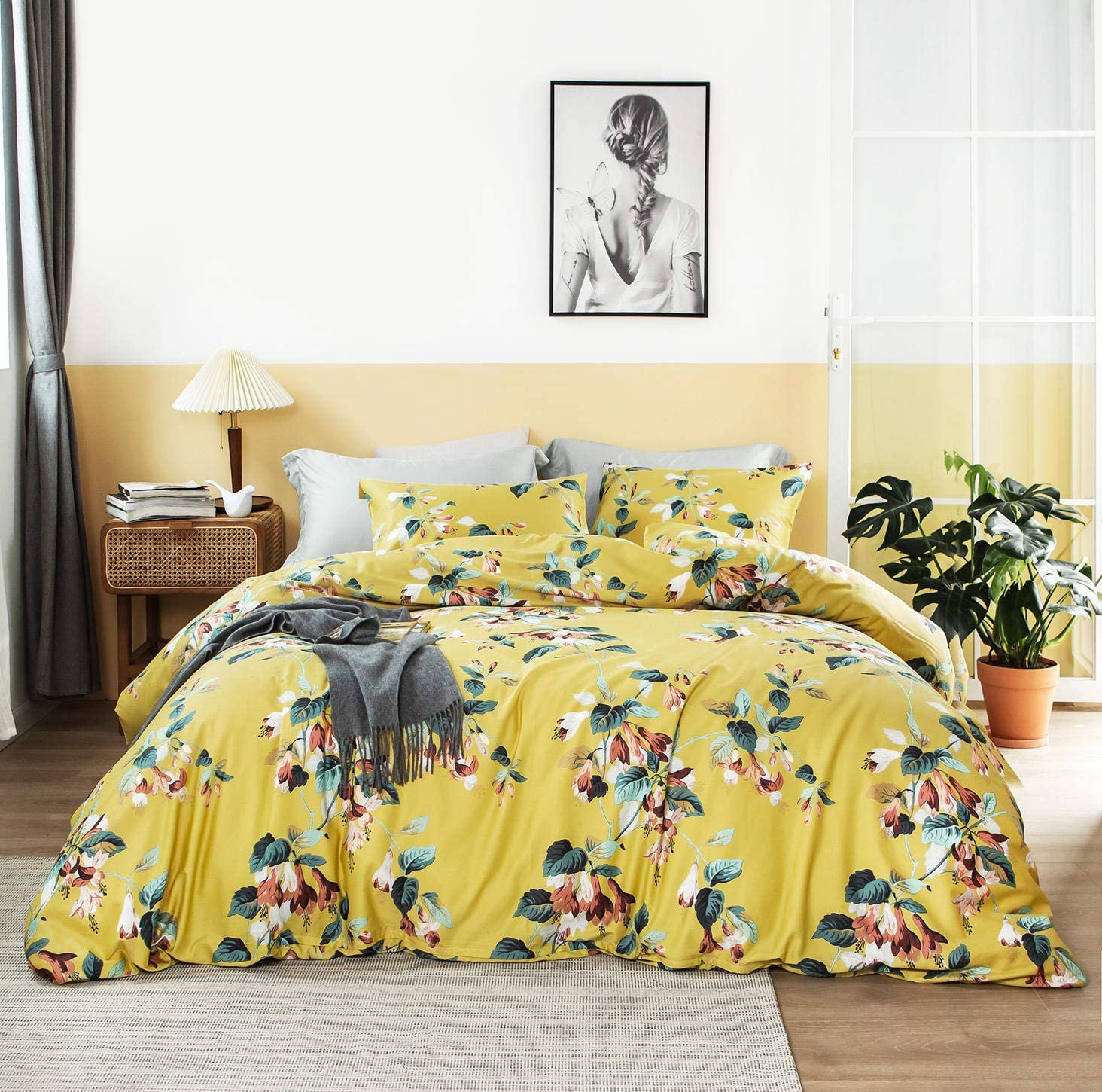 SUSYBAO 3 Piece Duvet Cover Set 100% Egyptian Cotton Yellow Queen Size Green Tree Leaves Bedding Set 1 Farmhouse Floral Duvet Cover with Zipper Ties 2 Pillowcases Luxury Quality Super Soft Comfortable