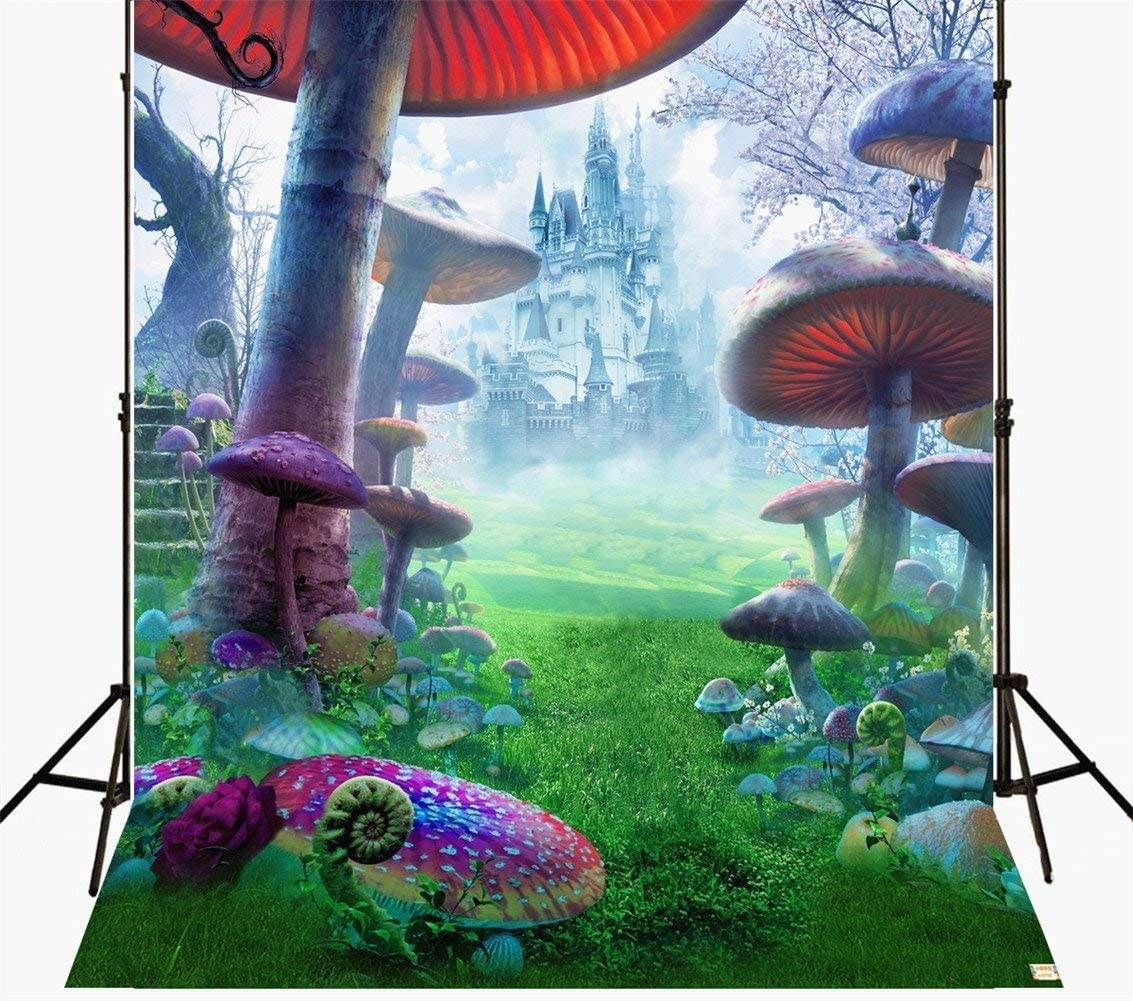 Photography Background 5x7 Photography Backdrop 3D Castle Mushroom Forest Birthday Party Backdrop Wedding Photo Booth Prop