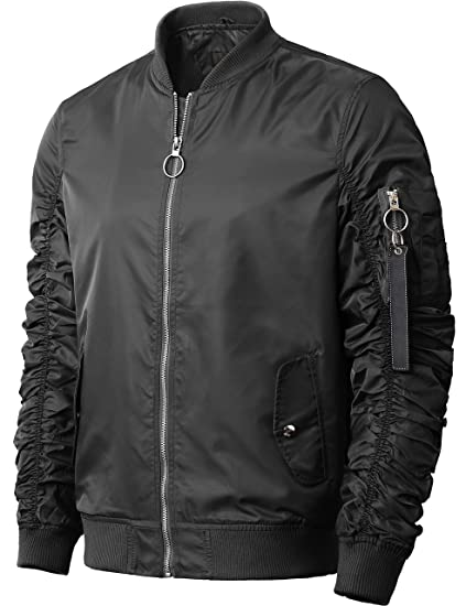 8c97946bcf6 Hat and Beyond Mens Ruched Bomber Jacket Lightweight Waterproof (Small   6116 Black)