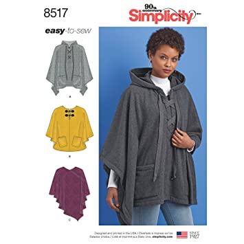 Simplicity Schnittmuster 8517 A (XS – XL Schnittmuster Set Poncho ...